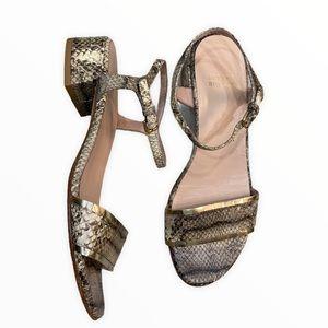 Stuart Weitzman Snake Skin Metallic Fringe Sandals